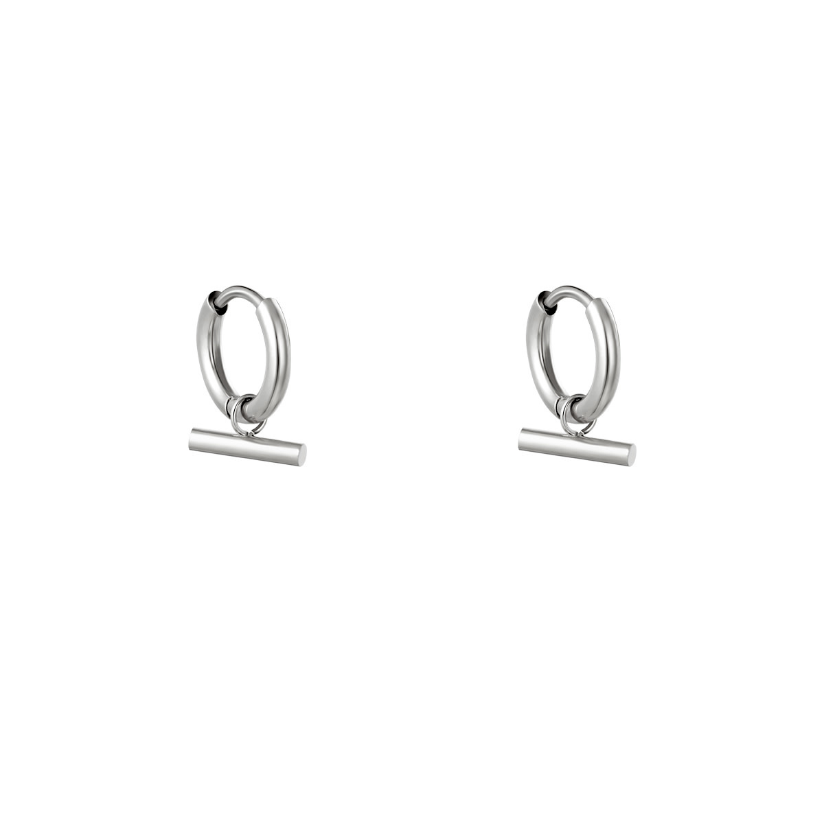 With love Earrings bar silver