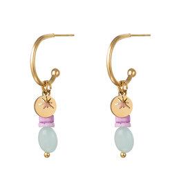 With love Earrings stones star aqua