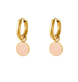 With love Earrings smiley pink