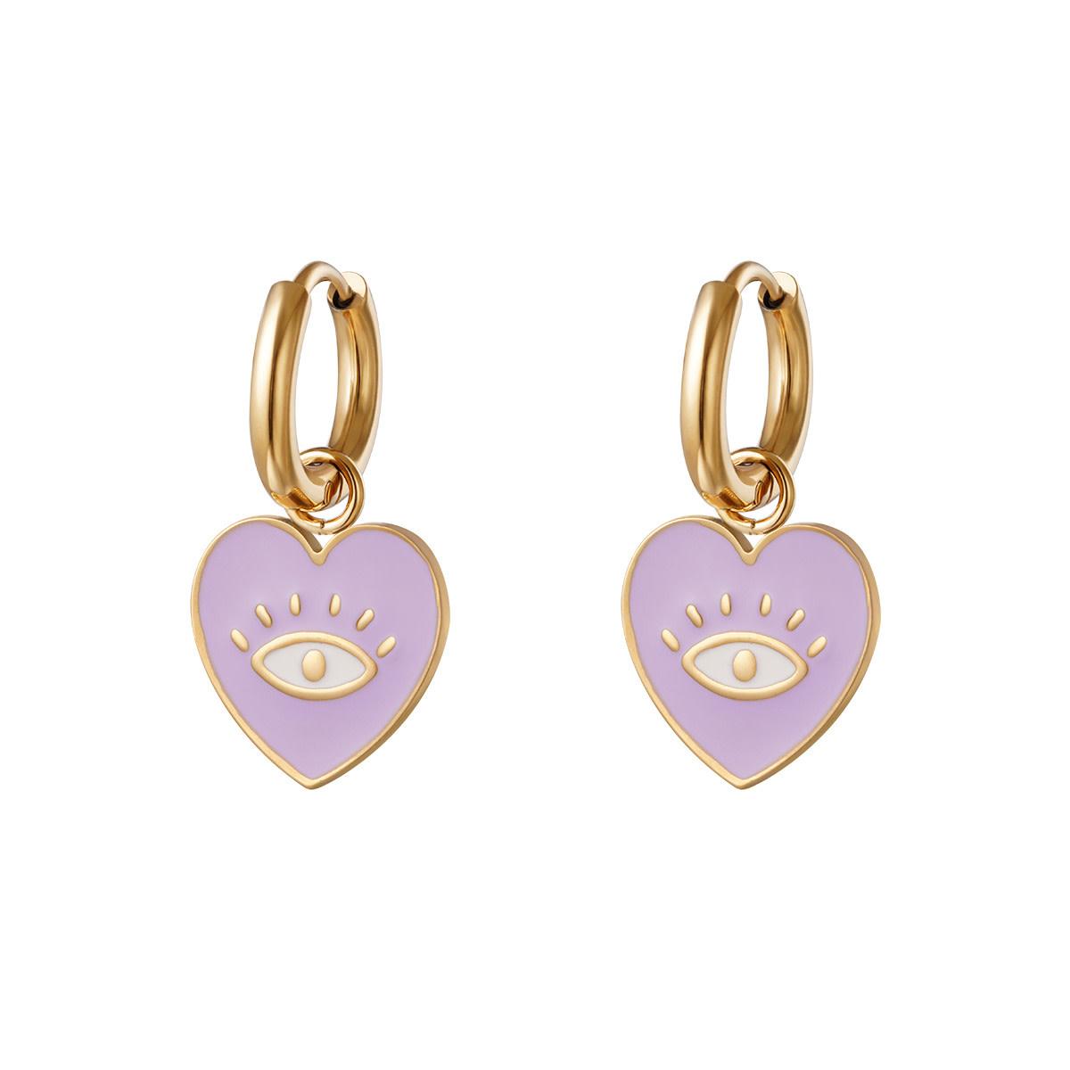 With love Earrings heart eye lilac