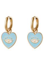 With love Earrings heart eye blue