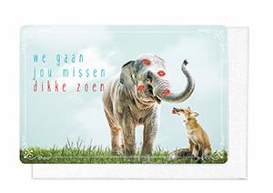 Enfant Terrible Enfant Terrible card  + enveloppe 'we gaan jou missen, dikke zoen'