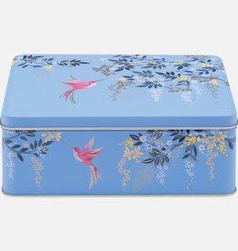 Sara Miller blue hummingbirds deep rectangular tin
