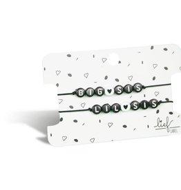Lief Label Bracelet set Big sis & little sis - black