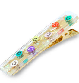 With love Set 2 hair clips smiley rainbow gold