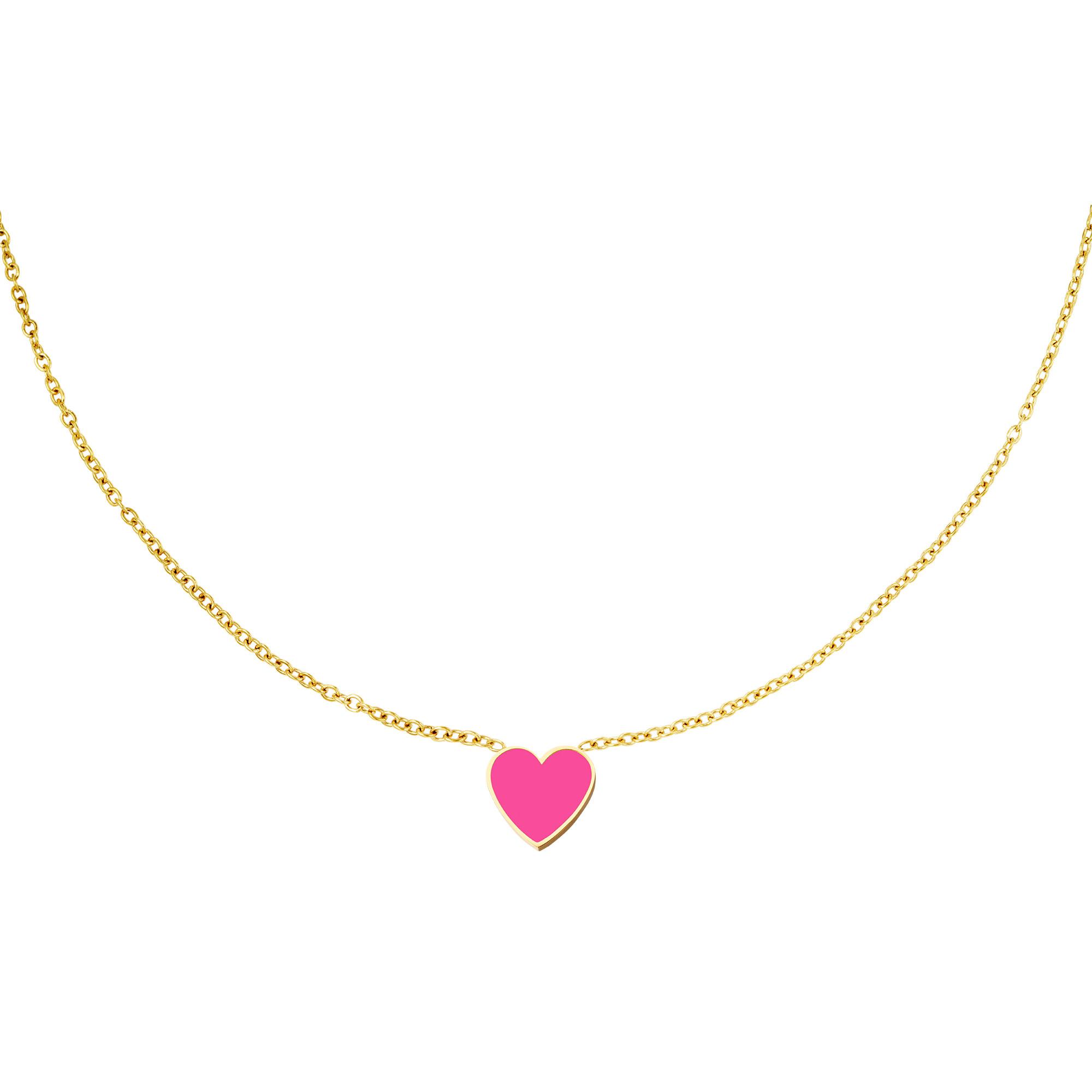 With love Necklace heart fushia