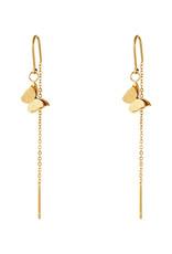 With love Earrings dangle butterfly gold
