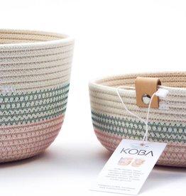 Koba handmade in Belgium Koba high basket M - pink turquoise 20 x 13 cm