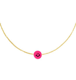 With love Necklace smiley fushia