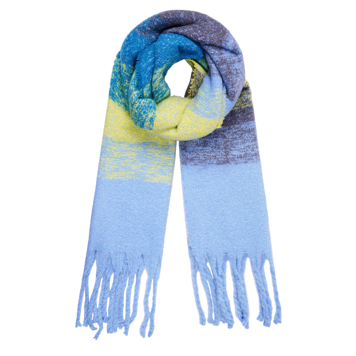 With love Scarf 'keep me warm light blue - yellow