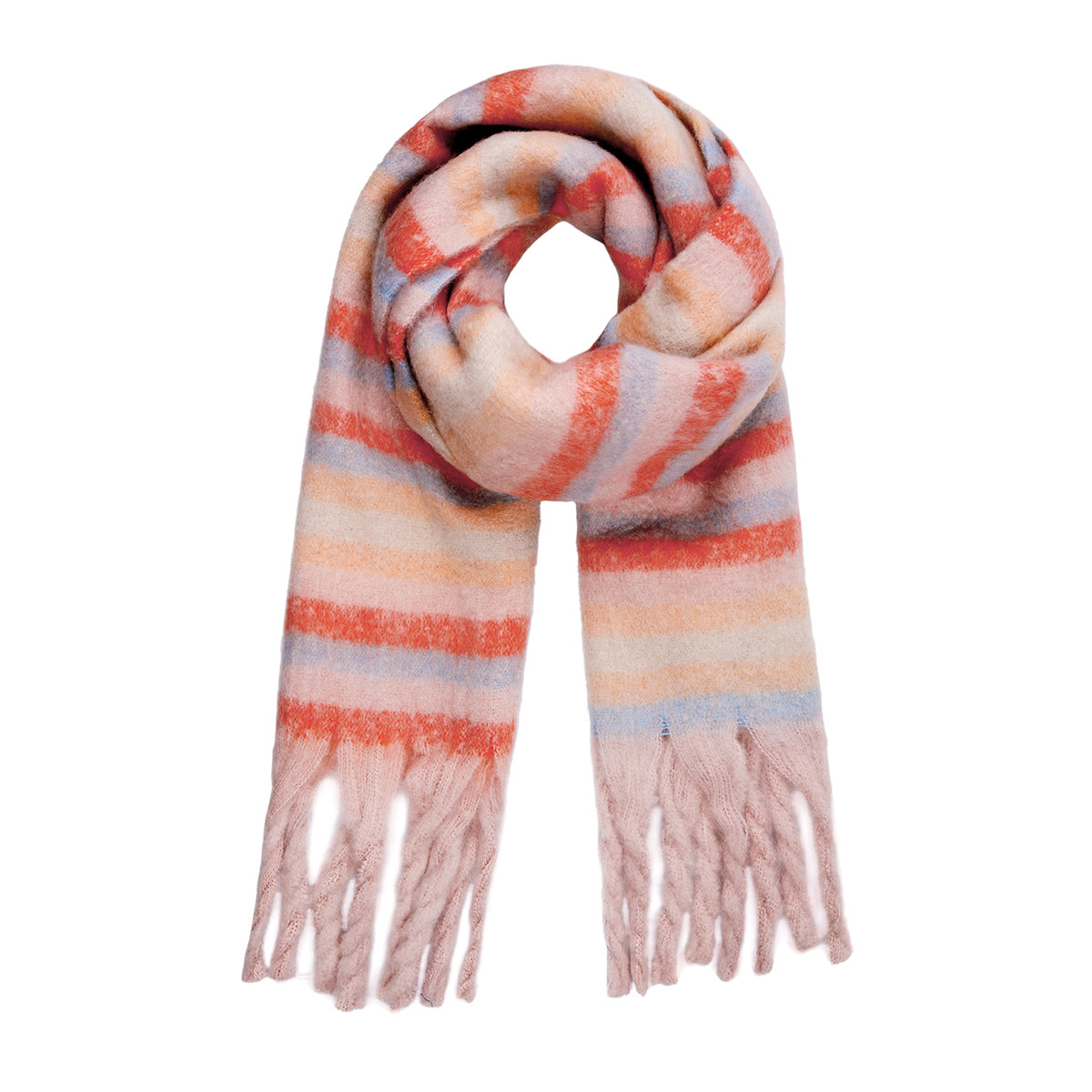 With love Striped scarf pink