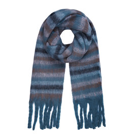 With love Striped scarf blue