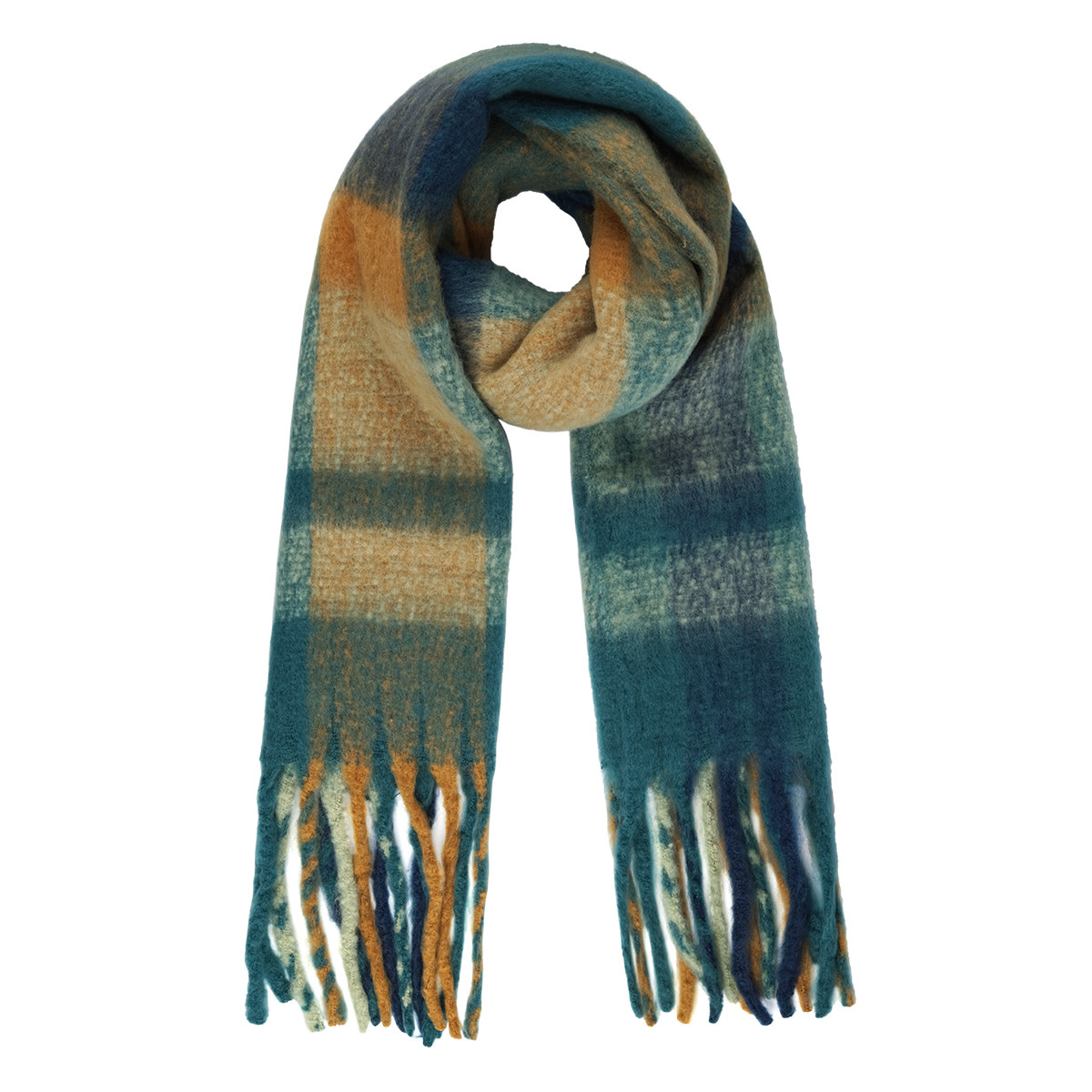 With love Checkered scarf petrol blue