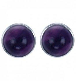 Treasure Silver stud earrings amethyst 6 mm round