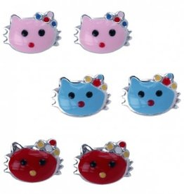Treasure Silver earrings cat red