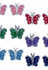 Treasure Silver earrings set 2 pairs Butterfly purple - turquoise