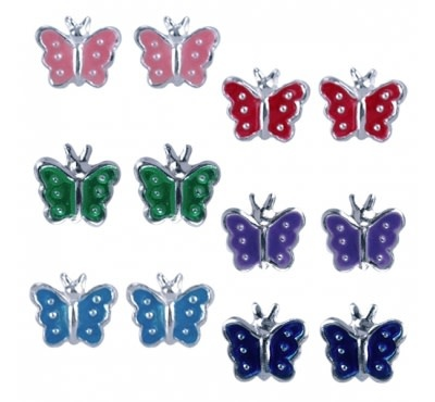 Treasure Silver earrings set 2 pairs Butterfly blue - pink