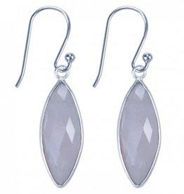 Treasure Silver earrings - marquis rosequartz