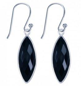 Treasure Silver earrings - marquis onyx