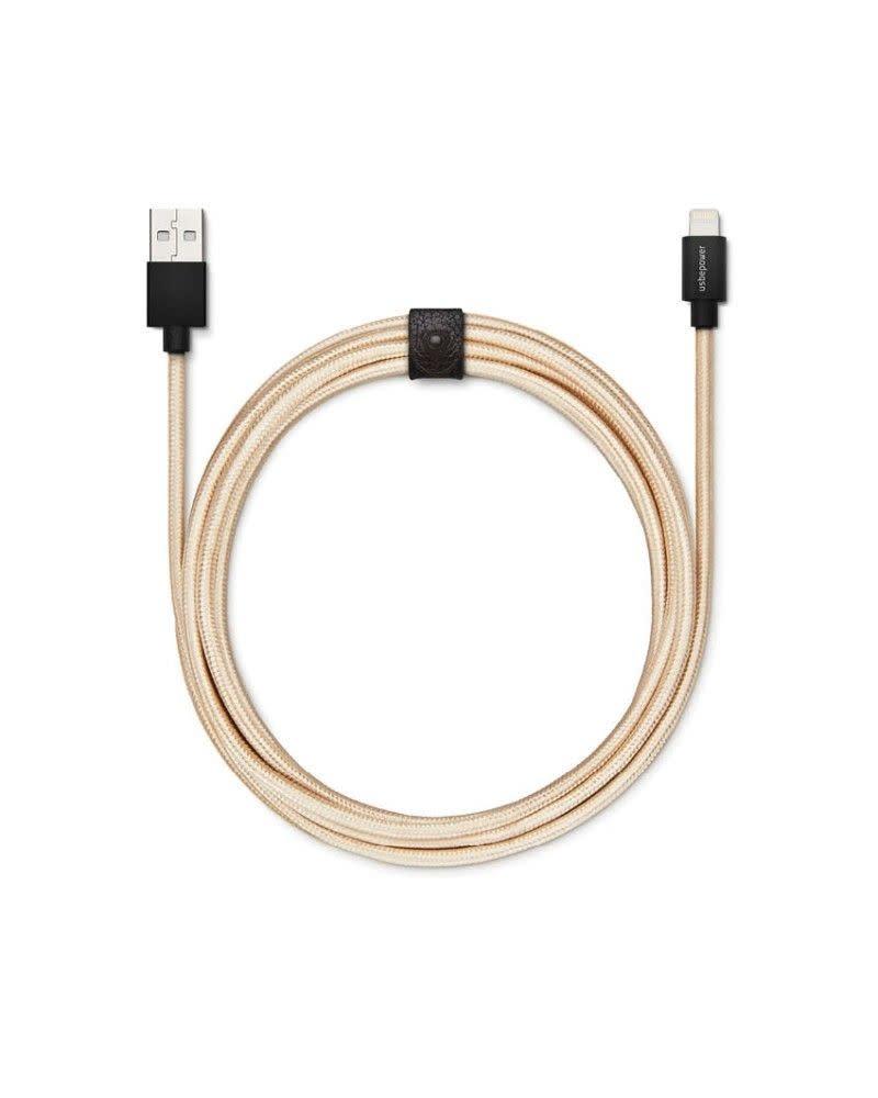 Lexon Usbepower FAB XXL cable - Gold 2.5 M