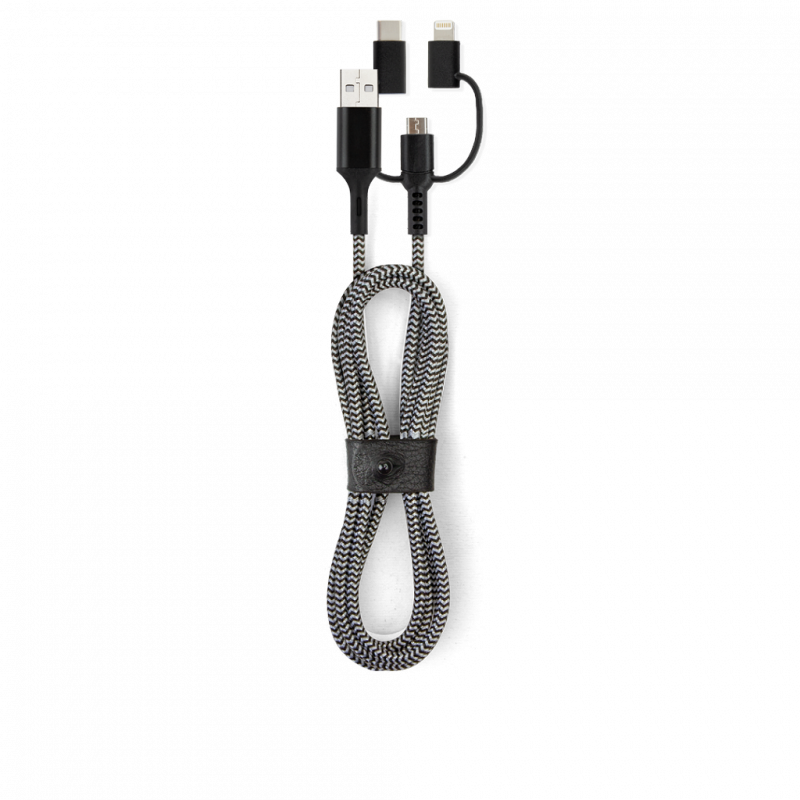 Lexon Usbepower USB-A 3 in 1 universal cable -Black & white 1.2 M