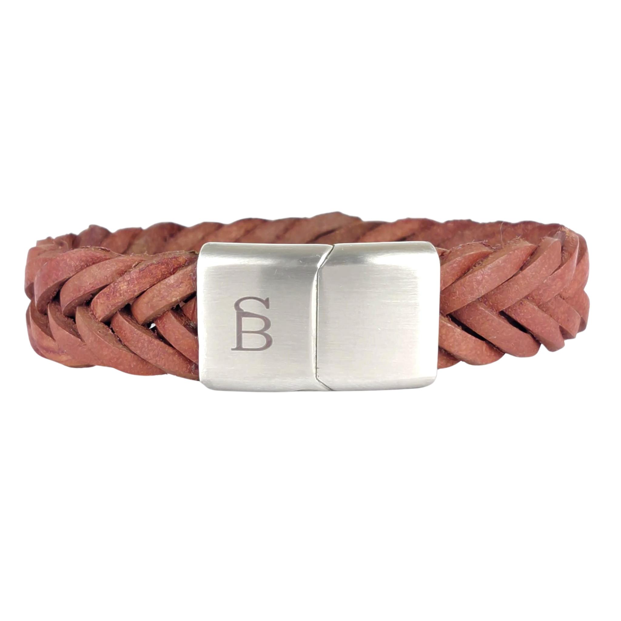 Steel & Barnett Leather bracelet Preston - Cognac- Size S
