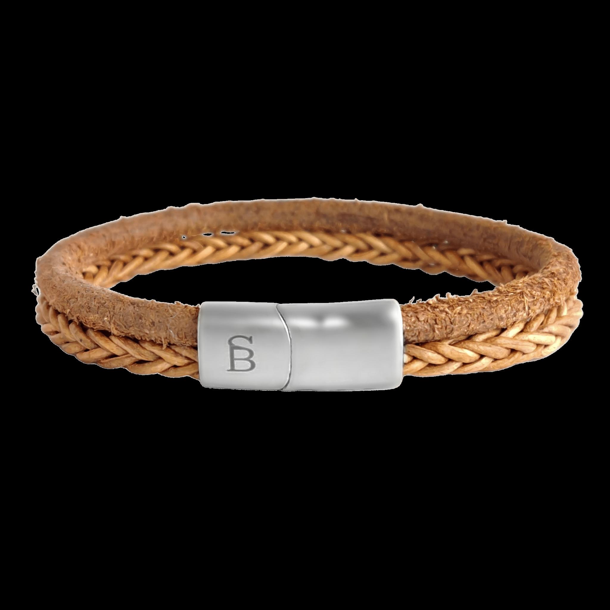 Steel & Barnett Leather bracelet Denby - Camel size M