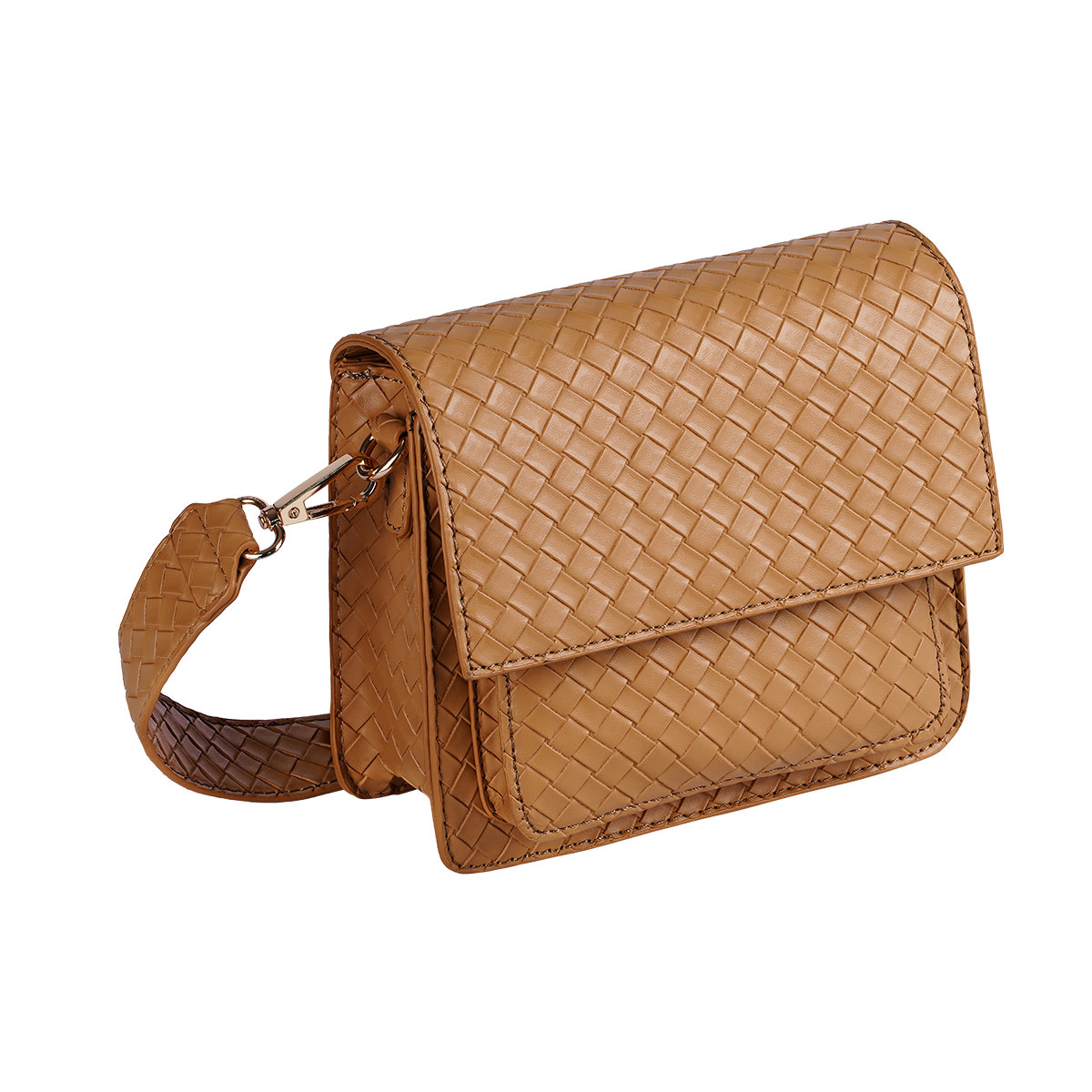 With love Bag braided  Camel 18cm x 15cm