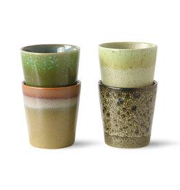 HK Living Ceramic 70's mugs green (set of 4) 7,5x7,5x8cm