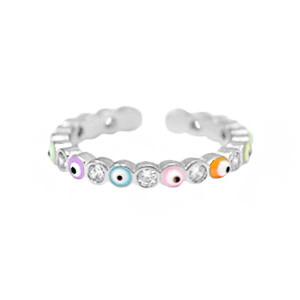 With love Ring enamel evil eye - multicolor silver