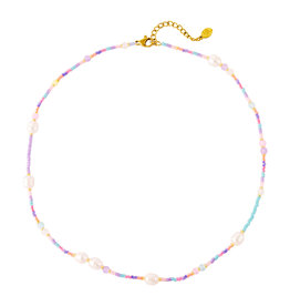 With love Necklace pastel beads and pearls