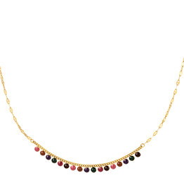 With love Necklace with natural stones - gold