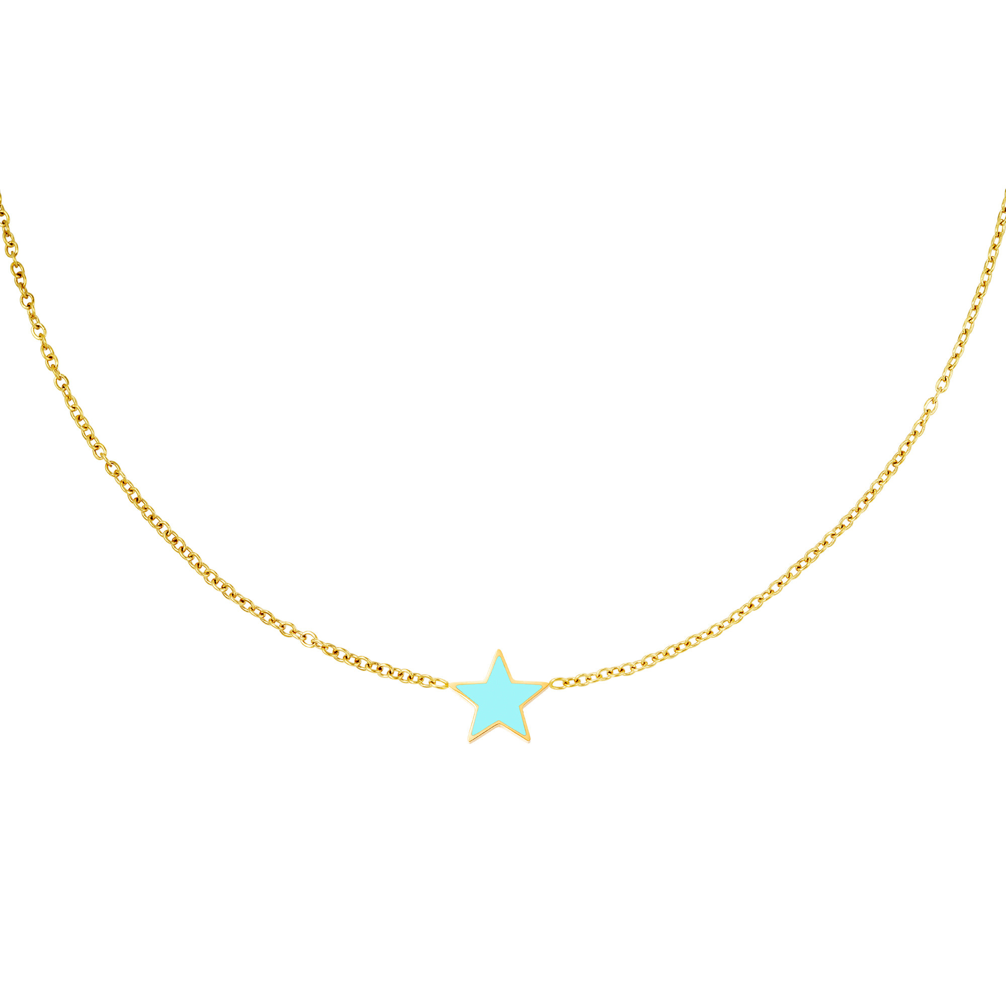 With love Necklace star gold - aqua