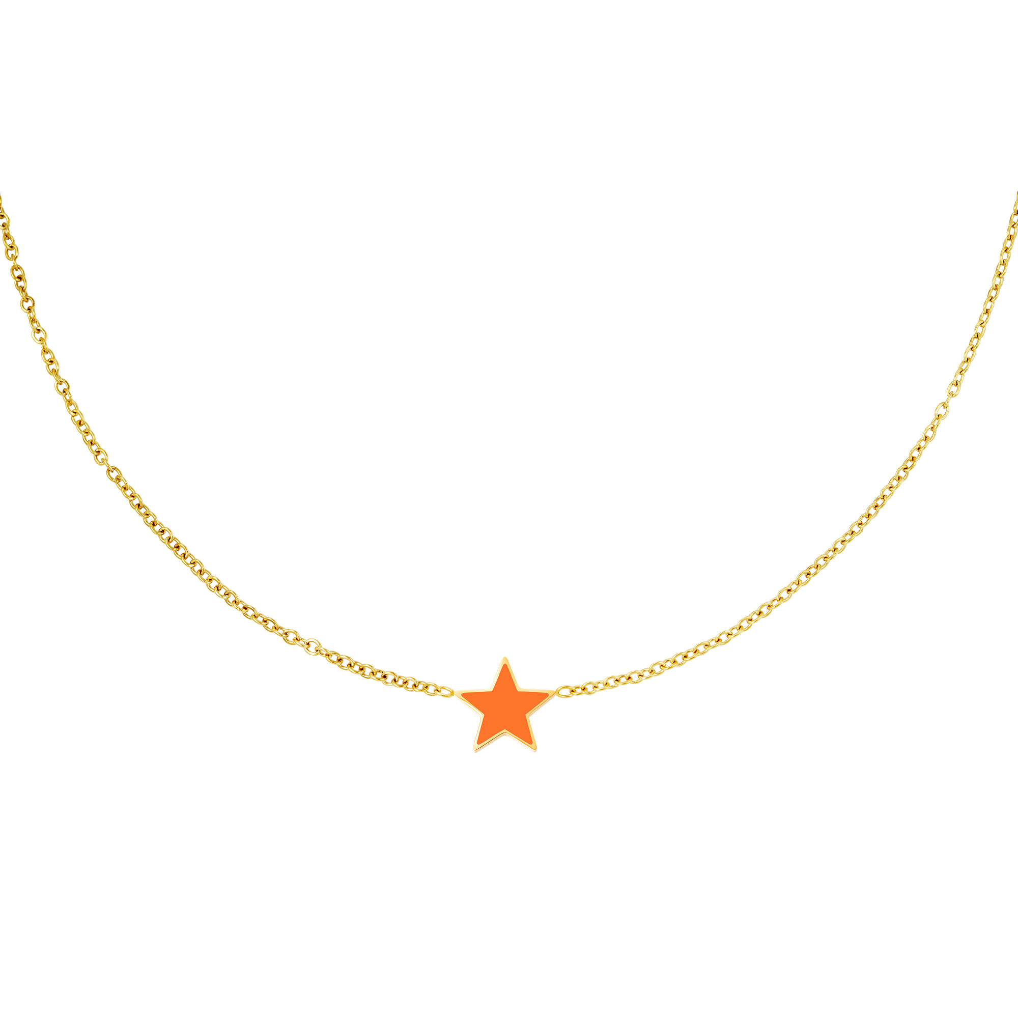 With love Necklace star gold - orange