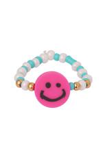 With love Beaded smiley ring - fushia