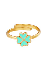 With love Ring clover aqua
