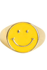 With love Ring enamel smiley yellow - gold