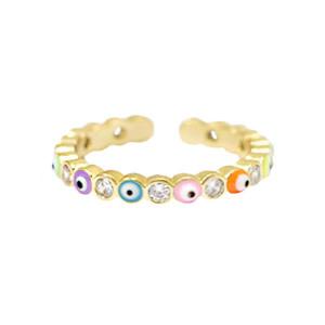 With love Ring enamel evil eye - multicolor gold