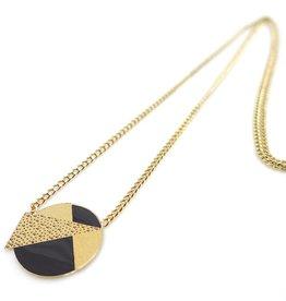Nadja Carlotti Silver necklace Lizzy - Black 38 cm + 3 cm