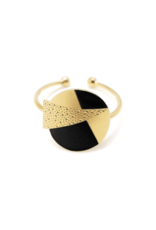 Nadja Carlotti Silver ring Lizzy - Black
