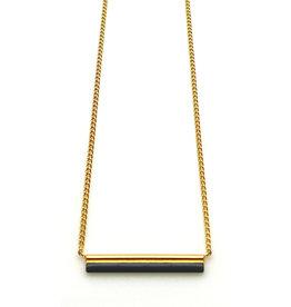 Nadja Carlotti Gold plated necklace Sparkle - Black