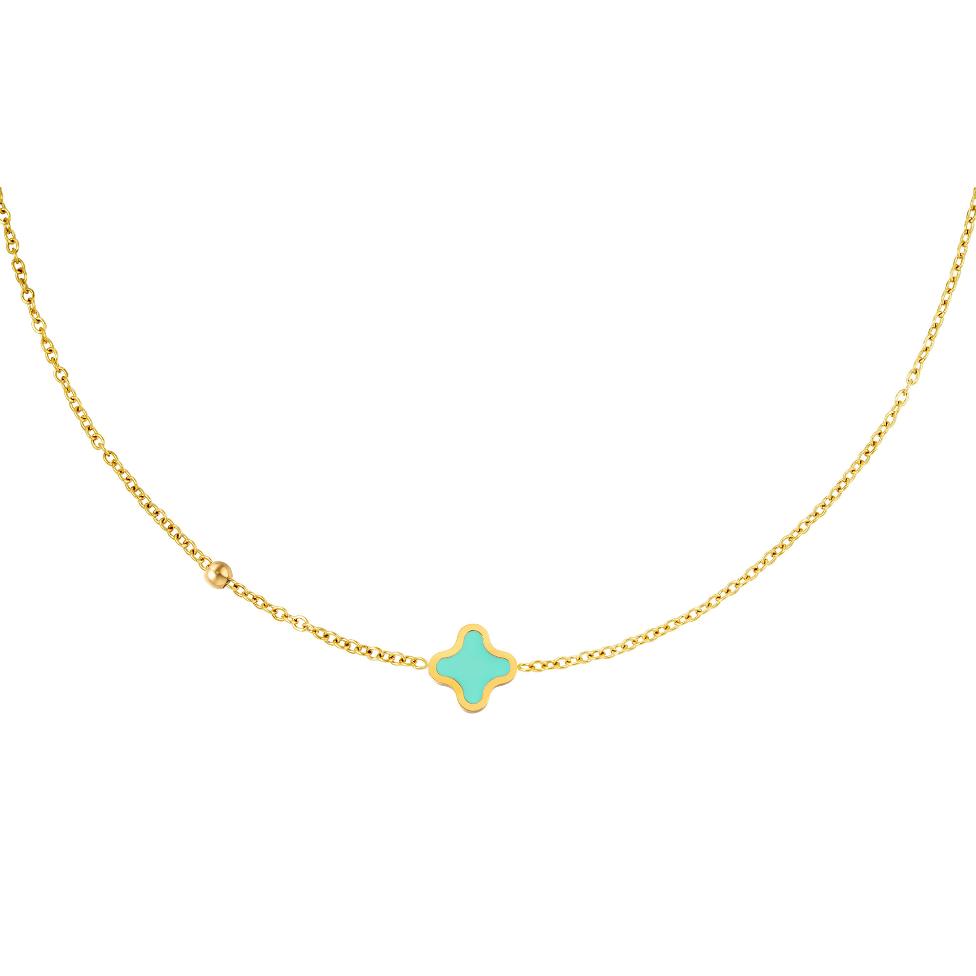 With love Necklace good luck aqua gold
