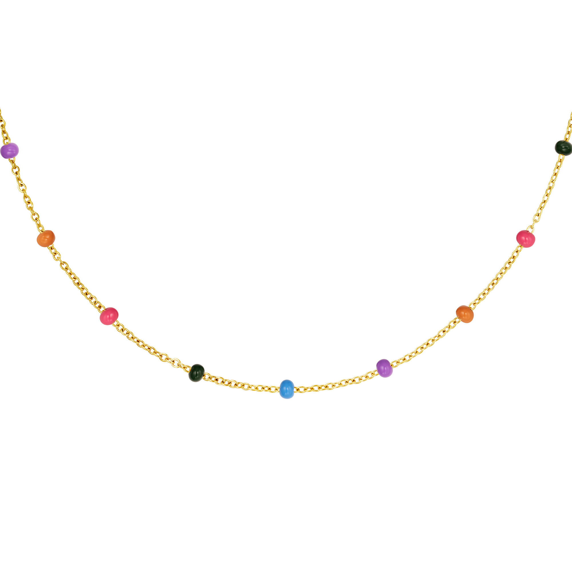 With love Necklace colored beads gold