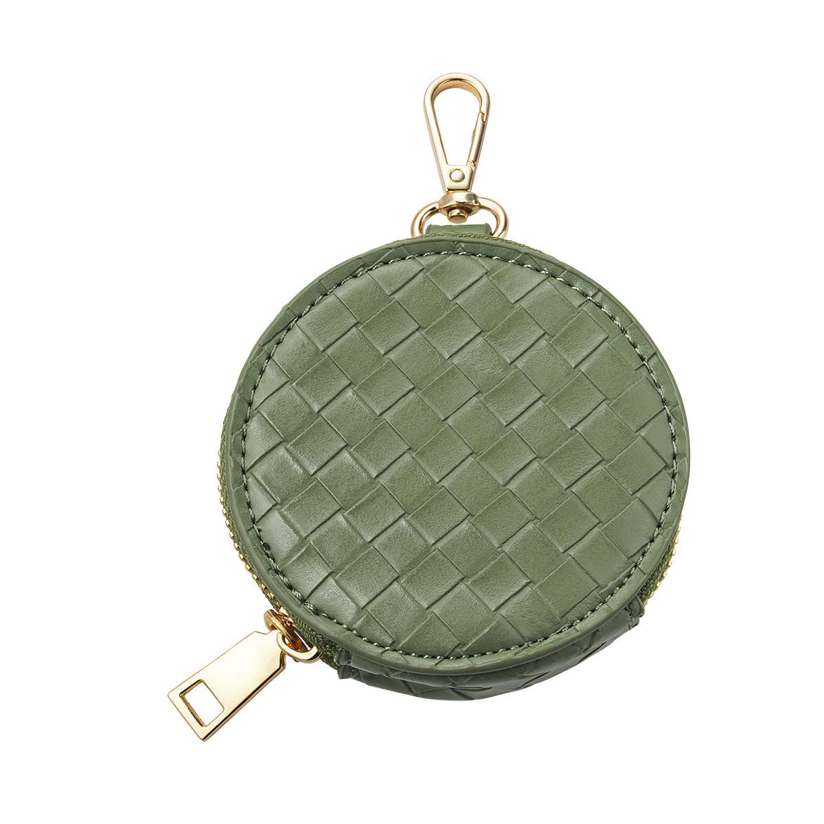 With love Braided pouch - khaki green 9 x 2 cm