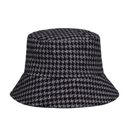 With love Bucket hat checkered - black & grey