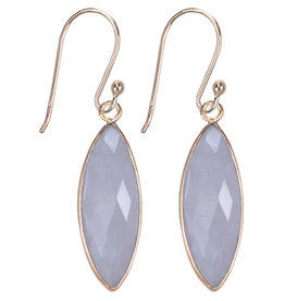 Treasure Silver earrings gold plated - marquis rosequartz