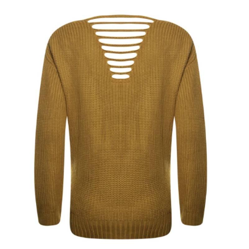 Okergele Trui Dames.Poools Gele Sweater Plain 843117 Capuchon Fashion