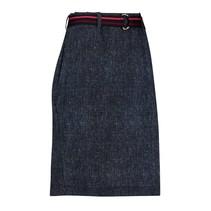 Donkerblauwe rok Straight Tweed