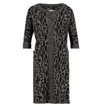Taupe met zwarte leo jurk Isolde