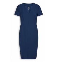 Blauwe v-neck jurk T1068
